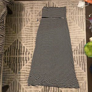 Size S/M Black and White Striped Maxi Skirt